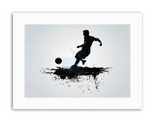FOOTBALL SOCCER SILHOUETTE SPLASH BLACK Sport Canvas art Prints