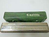 Vintage M Hohner Echo No# 2409 Harmonica Made In Germany Includes Green Case