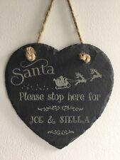 Personalised Christmas Eve Sign Santa Please Stop Here Hanging Slate Heart