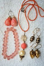 color beads silver gold tone new jewelry set necklace earrings Coral