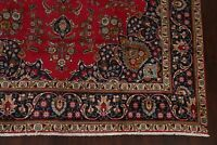 Semi-Antique 10x13 Geometric Traditional Red Area Rug Hand-Knotted Medallion