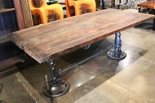 "96"" L Industrial design dining crank table iron base legs antiqued teak wood top"