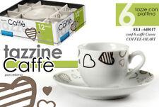 SET 12 PZ TAZZINE CAFFè 6 TAZZE 6 PIATTI PORCELLANA TONDO CUORE MODERNO 640117