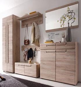 Garderobenset Flur Garderobe Set Eiche San Remo komplett mit Bank Schrank Malea