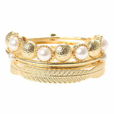 ~New~Gold & Pearl Bangle Stretch Bracelets 4 Piece Set
