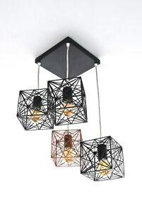 Ceiling Light Modern Industrial Geometric Handmade Designer MYSTIC ROSE 4Q Lamp