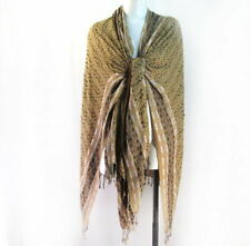 "Beige Black Poncho Style Rayon Wrap Top with Fringe Isa & Stef 32"" long A243"