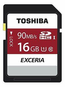 Toshiba Exceria N302 16GB SD Memory Card 90 MB/s 4K HD - THN-N302R0160E4 - Black