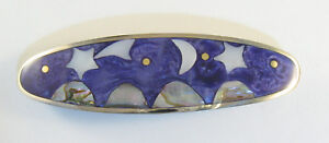 "Alpaca hair clip / barette abalone shell inlay moon & stars purple 3 1/2"" long"