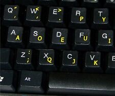 Dvorak Transparent Keyboard Stickers with Yellow letters - for any keyboard
