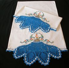 2 PillowCase Hand Embroidered Crochet Blue Peacock Cotton Sateen  Standard New