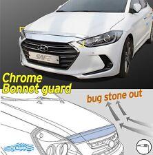 Bonnet Hood Guard Chrome Front Garnish Deflector 2Pcs for Hyundai Elantra 2017~