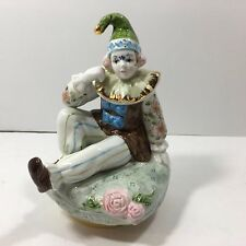 "Vintage Schmid Porcelain Clown Musical Figurine (plays ""Fascination"")"