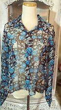 Vintage 70s Hippie MOD Floral Blouse Brown Blue Sheer BOHO Hipster Button Up S