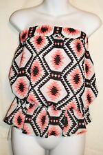 NWT Womens Juniors E M White Black Coral Shirt Crop Top Size M Medium