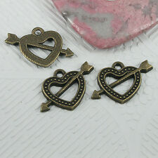 12pcs antiqued bronze color heart with arrow design charms EF0628