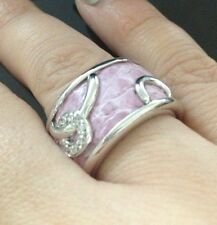 Sterling Silver & Leather Ring/Band Size 7 Pink Color
