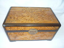 Vintage Chinese Wooden Carved Flowers Bird Picture Jewellery Trinket Box
