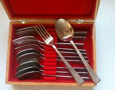 Set of 12 Vintage Stainless Spoons & Forks in Wood Box with Soviet symbolic USSR