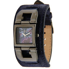 GUESS CRYSTAL ACCENTED DIAL GUNMETAL IP  CASE PYTHON LEATHER WATCH U0054L3