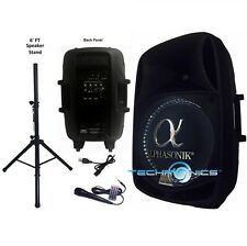 "ALPHASONIK 15"" POWERED 2800W PRO DJ BLUETOOTH USB PA LED MIC USB SPEAKER + STAND"