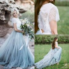 Beach Boho Lace Wedding Dresses A Line Light Grey Short Sleeve Bride Gowns Skirt