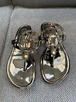 Tory Burch Miller Sandal Black Patent Thong Flat Logo US 9.5M