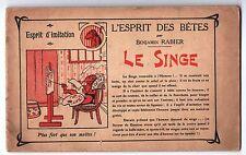 Benjamin RABIER. L'Esprit des Bêtes. Le Singe. oblong 1910 environ Phospho-Bébé