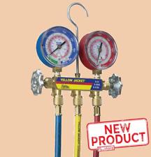 Mechanical Manifold Gauge Set 2 Valve 60 Inches Length Forged Brass 3 Hose New