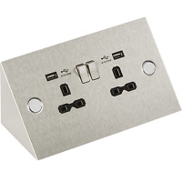 Double socket with USB angled under cupboard cabinet 13A switched SK002 MLA