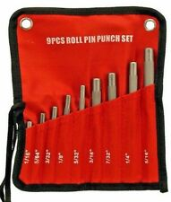 9 Pc Chrome-Vanadium Steel Roll Pin Punch Set Includes roll-up storage pouch