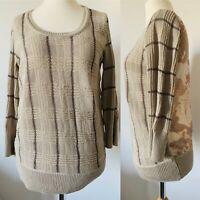Vera Wang Simply Vera Beige Jumper Checked Sparkly Knit Chiffon Back Boho Size M