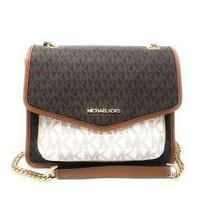 Michael Kors Regina Medium Shoulder Flap Signature Logo MK Crossbody Bag