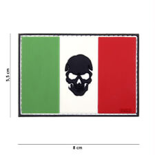Patch 3D PVC flag Italy + skull airsoft softair Italian