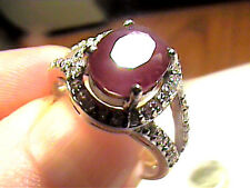 Silver 925 RING 7 natural ruby GEM SOLITAIRE WHITE SAPPHIRE white GOLD SMALL DEL
