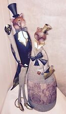 """Awesome Vintage MCM Metal Tin Copper Cat Sculptures Out On The Town ~24"""""""