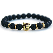Owl Lava Stone Bracelet, Unisex Diffuser Bracelet for Men and Women