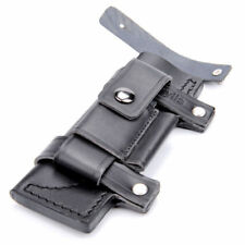 "Black Straight Leather Belt Sheath For 7"" Fixed Knife w/Pouch Bag Knives Sheath"