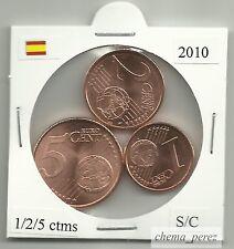 // 1 + 2 + 5 centimos euro España 2010 SC . euro cents spain \