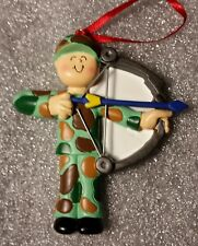 Personalized Male Hunter with Bow Camouflage Christmas Tree Ornament Holiday