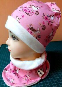 Baby Kinder Beanie Mütze und Halssocke  Loop  Mädchen -- Jersey-Fleece