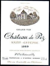 étiquette Château de PEZ. 1989. Saint-Estèphe.