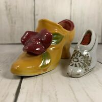 Lot Of 2 Vintage Hand Painted HIGH HEEL CERAMIC SHOES One Made In Japan