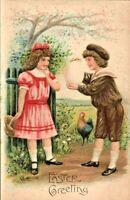 Easter Antique Postcard   A.S.B. (Arthur Schurer)   Boy Shows Large Egg   c.1910
