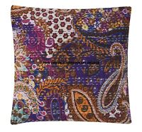 "16"" Paisley Kantha Elegant Cushion Cover Cotton Ethnic Indian Handmade Pillow"