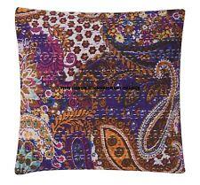 "16"" Paisley Kantha Elegant Cushion Cover Cotton Ethnic Indian Handmade Pillow"