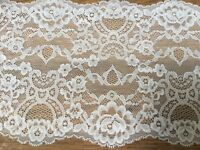 "*New* 7""/18cm Stunning Ivory Stretch Galloon Lace Trimming. Sewing/Lingerie"