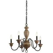 Kichler Beulah 5-Light Olde Bronze and Wood Tone Farmhouse Chandelier