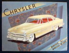 CHRYSLER WINDSOR 6 + DELUXE SALES BROCHURE C 1953.