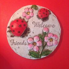 "7"" Diameter Red & Black Ladybugs with Pink Flowers Garden Stepping Stones"